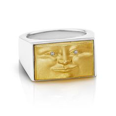 Brickface Signet Ring in 18k Yellow Gold Sterling Silver and Diamonds- shop now at anthonylent.com (link in bio) #luxurywithaface #brickface #signetring #mrsolid