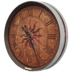 Personalized Carved Barrel Head Clock, Sun Burst
