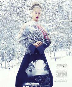 Snow Angel: Soo Joo Park shot by Miguel Reveriego for US Harper's Bazaar, September 2013