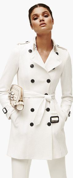 Burberry London Belted Double Breasted Mesh Trench Coat available at Nordstrom White Fashion, Look Fashion, Womens Fashion, Fashion Trends, Gq Fashion, Fashion Clothes, Latest Fashion, Mode Chic, Mode Style
