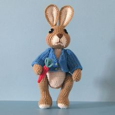 Crochet Pattern - Robbie Rabbit, Crocheted Amigurumi Bunny Rabbit Doll, Similar to Peter Rabbit. $7.50, via Etsy.