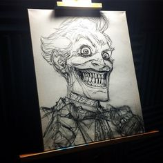 """""""Here's a sneak peek at the initial sketch for my which will be up for bid at the Auction/After Party! Joker And Harley, Harley Quinn, Joker Painting, The Man Who Laughs, Jokers, Initials, Auction, Sketch, Dark"""