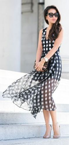 Gingham Print Maxi Dress by Wendy's Lookbook