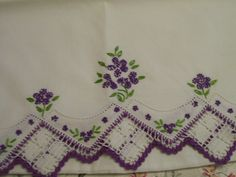 Vintage PURPLE Embroidered Pillowcase with by FabVintageEstates Diy Embroidery, Vintage Embroidery, Vintage Sewing, Cross Stitch Embroidery, Embroidery Patterns, Embroidered Pillowcases, Vintage Baskets, Patch Aplique, Linens And Lace