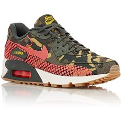 Nike Air Max 90 Jacquard Premium Sneakers liked on Polyvore featuring shoes, sneakers, nike trainers, nike shoes, lace up shoes, round cap и low top
