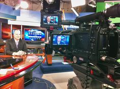 What better place to shoot a testimonial at a TV station... on the news set, of course. @Zacuto VF eyepiece is flipped up... handy. PMW-F3 doesn't need a million footcandles to make pretty pictures, but hey, it's a studio!