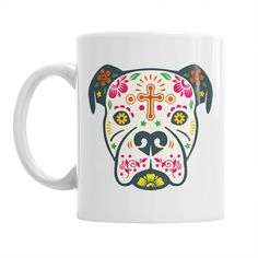 Mainly Mugs proudly presents our very own version of the Boxer Dog Sugar Skull craze, inspired by Mexican folk art and Day of the Dead.  LEFT, RIGHT OR DOUBLE SIDED? If choosing a single side print, unless you specify left handed within the drop down menu, your mug will be printed for a right handed person so that the design points away when drinking. PRODUCT DETAILS:  Capacity: 11 ounces Care: dishwasher and microwave safe Print: The designs are printed on the mug and will last a very long…