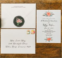 bridal shower invite designed by First Snow #bridalshower  http://www.weddingchicks.com/2013/11/21/peach-and-mint-bridesmaid-luncheon/