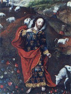 """""""El Buen Pastor"""" cuzqueño principios siglo XVIII, óleo/lienzo, med; 73X56 cms."""