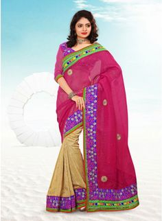 Fascinating Beige & Fuchsia Embroidered #Saree #clothing #fashion #womenwear #womenapparel #ethnicwear
