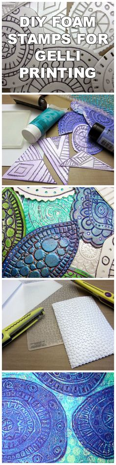 Easy-to-make, DIY foam printing plate stamps for creating fabulous textured Gelli prints to be used in cardmaking, art journaling and collage!  They're so easy and fun to make, you'll have a collection of these stamps in no time!