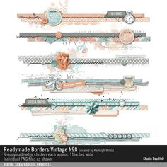 Readymade Borders: Vintage No. 08 clustered border strips in a soft color palette Scrapbook Borders, Scrapbook Sketches, Scrapbook Layouts, Border Ideas, Book Marks, Boarders, Soft Colors, Bujo, Digital Scrapbooking