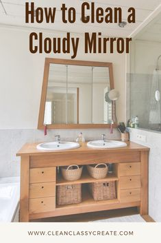 Clean a cloudy mirror in just a few easy steps!  Fun fact....use shaving cream to clean your bathroom mirrors and they won't fog up when you take a shower!  #mirror #cleanmirror #bathroomcleaning Bathroom Vanity Designs, Bathroom Vanity Makeover, Small Bathroom Vanities, Bath Vanities, Small Bathrooms, Bathroom Mirrors, Bathroom Cleaning, Bathroom Organization, Bathroom Storage