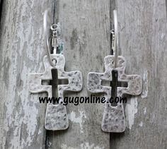 Silver Hoop Earrings with Cross Dangle $11.95 www.gugonline.com