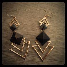 Dangle Earrings NWOT Never been worn NWOT. Forever 21 black and gold dangle earrings. Forever 21 Jewelry Earrings