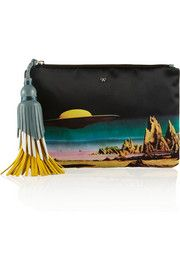 Fun multi color tassels with cool background. ANYA HINDMARCH Courtney Star Cruiser printed satin clutch