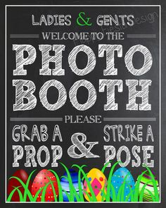 Printable Easter Photo Booth Sign 8x10 by HappyFiestaDesign