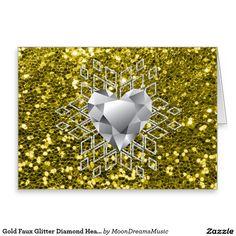 #GoldFauxGlitter #DiamondHeartSnowflake #BlankNoteCard by #MoonDreamsMusic #ElegantChristmas