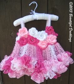 Ravelry: Rose Fairy Tutu Dress pattern by Sonya Blackstone Crochet Girls, Crochet Baby Clothes, Crochet For Kids, Knit Crochet, Ruffle Yarn, Knitting Patterns, Crochet Patterns, Ravelry, Black Crochet Dress