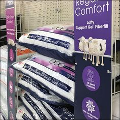 This Serta Pillow Open-Wire Shelf Management is near but not quite Bulk-Bin-like in approach. But in truth, the pillows do sit and stack on shelves. Big Lots Store, Retail Merchandising, Store Fixtures, Wire Shelving, Wire Baskets, Toddler Bed, Shelf, Management, Pillows