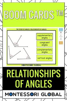 relationships of angles in Geometry, online or in the classroom. #montessori #distancelearning #geometry #fundamentalconcepts #PowerPoint #boomcards #nomenclature #definitions #interactive Types Of Angles, Types Of Lines, Geometry Online, Montessori Math, Printable Cards, Definitions, Distance, Relationships, Presentation