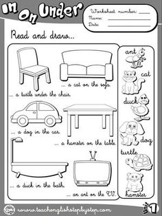 Place Prepositions - Worksheet 3 (B&W version):