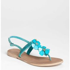Turquoise flower sandals