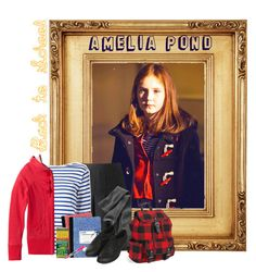 """""""Amelia Pond: Back to School"""" by goddess-of-moonlight ❤ liked on Polyvore featuring Gap, Yves Saint Laurent, maurices, Topshop, Dixon Ticonderoga, Aéropostale and Sharpie"""