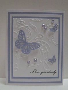 Butterflies on embossed bkgrd. Could be any sentiment