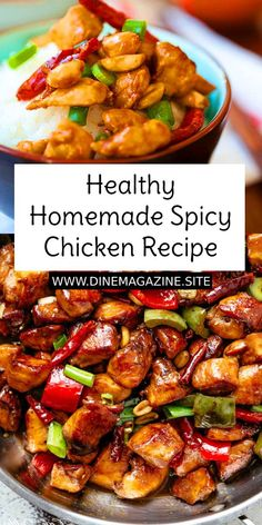 Healthy Homemade Spicy Chicken is a Chinese takeout classic loaded with spicy chicken, peanuts, vegetables in a mouthwatering homemade sauce. This easy homemade recipe is healthy, low in calories and much better than takeout. Spicy Chicken Recipes, Healthy Crockpot Recipes, Healthy Dinner Recipes, Vegetarian Chinese Recipes, Healthy Chinese, Easy Homemade Recipes, Homemade Sauce, Simple Recipes, Peanut Chicken