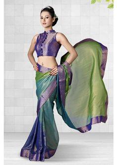 Green Silk Shimmer Half and Half Designer Saree - SR3998