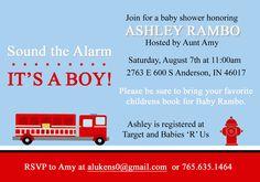 Fire Fighter Baby Shower Invite