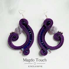 'Blueberries' Made by order :) For available items check out the shop ~ Link in bio . . . #fashion #instafashion #soutache #earrings #dangleearrings #perfect #elegant #modern #contemporary #violet #purple #jewelry #accessories #for #her #lifestyle #womansfashion #readytowear #style #stylish #musthave #summervibes #summerfashion #ss2017 #nyc #la #etsy #etsyshop #magdotouch