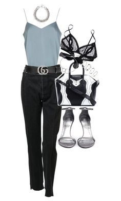 """""""Untitled #21305"""" by florencia95 ❤ liked on Polyvore featuring Topshop, Vetements, Gucci, Givenchy, Only Hearts, Stuart Weitzman, Chupi, H&M and Yves Saint Laurent"""