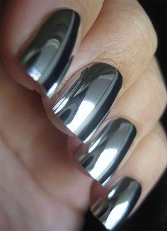 Women Mirror Nails Design