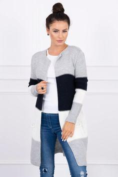 Trendy teplý trojfarebný kardigan s dlhými rukávmi. Na bokoch má kardigan vrecká. Kvalitný materiál príjemný na nosenie. Long Sleeve Sweater, Sweater Cardigan, Wide Stripes, Long Sweaters, Color Combinations, Beige, Wool, Lady, Trendy