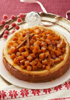 Candied Pumpkin-Topped Cheesecake – With candied cubes of fresh pumpkin atop a creamy, spicy cheesecake, this is a pumpkin dessert for true pumpkin lovers.
