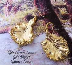 Real Leaf Jewelry, Kale Lettuce Leaf Earrings, Hammered Wires, 24K gold or Silver Dipped. $19.95, via Etsy.