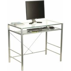 Z-Line Designs Capri Glass and Metal Desk, Silver - Walmart.com