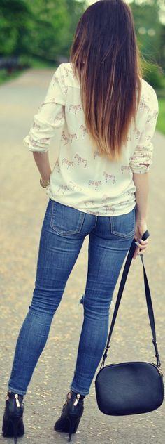 Zeliha's Blog: Zebra Print Blouse With Denim Jeans Cute Back Styl...