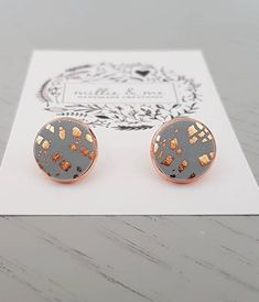 Hey, I found this really awesome Etsy listing at https://www.etsy.com/listing/548561108/rose-gold-and-grey-copper-clay-stud
