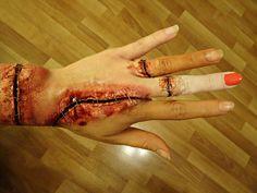 Halloween makeup - skin graft  ~ Marta Kubiak make-up