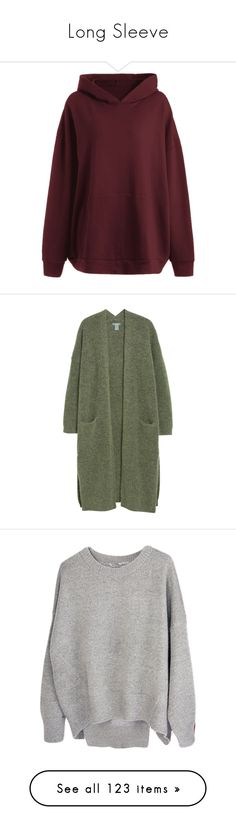 """""""Long Sleeve"""" by isthelastofus ❤ liked on Polyvore featuring tops, hoodies, oversized hooded sweatshirt, hoodie top, wine top, oversized hoodies, oversized tops, cardigans, long length tops and green cardigan"""