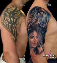 The before- and after- picture of yesterdays Michael Jackson piece. It was done in 3 long sessions 13 hours total. Pop Art Tattoos, Old Tattoos, Great Tattoos, Cover Up Tattoos Before And After, Tennessee Tattoo, Michael Jackson Tattoo, Tattoos For Women Half Sleeve, Cover Tattoo, Tattoo Ink