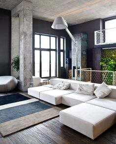 bright living room/concrete