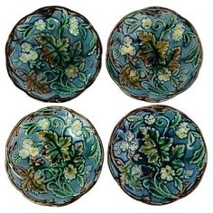Check out this item at One Kings Lane! Majolica Floral Plates, S/4