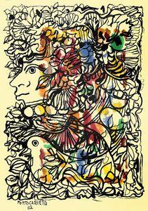 Retrato de Flora con paloma...Cuban Art René Portocarrero