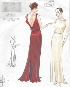 1931 Vintage VOGUE Sewing Pattern B34 DRESS (1035) in Crafts, Sewing, Sewing Patterns   eBay!
