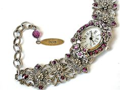 Amethyst Swarovski Wrist Watch  More colors by LeBoudoirNoir, €100.00