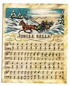 Vintage 1949 Brownie Jingle Bell Music Christmas Greeting Card
